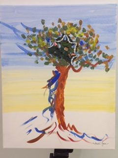 Tree painted on canvas