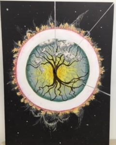 Tree in circle painting